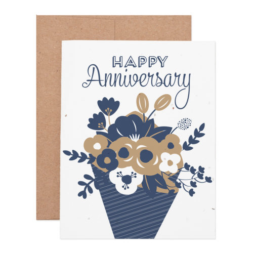 Anniversary bouquet wildflower seeded plantable letterpress greeting card