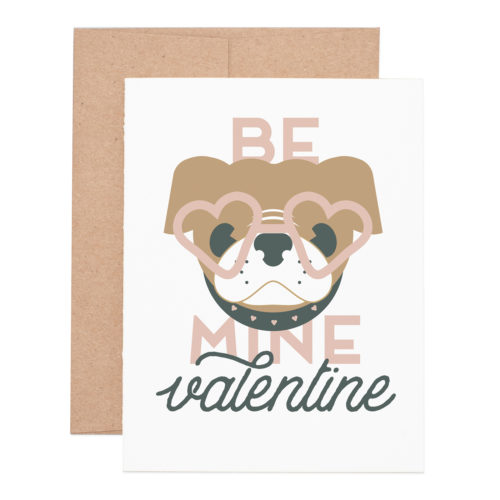 Be mine pug valentine letterpress greeting card