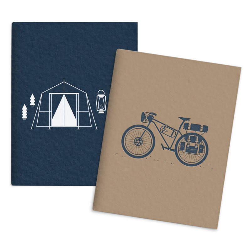 Bicycle camping saddle stitched pocket notebook set