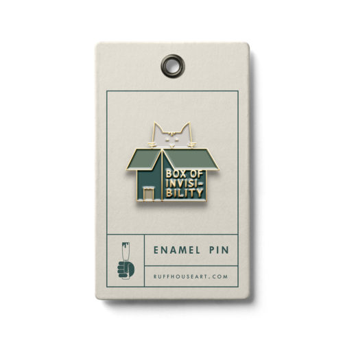Cat in the box enamel pin