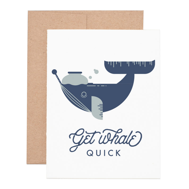 Get Whale get well letterpress greeting card