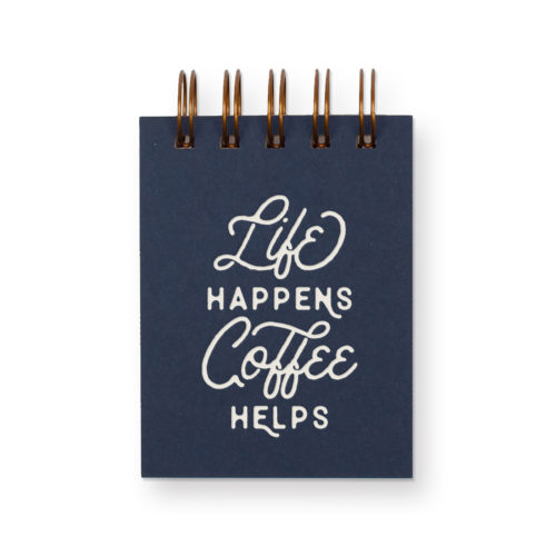 Life coffee mini jotter with deep blue cover