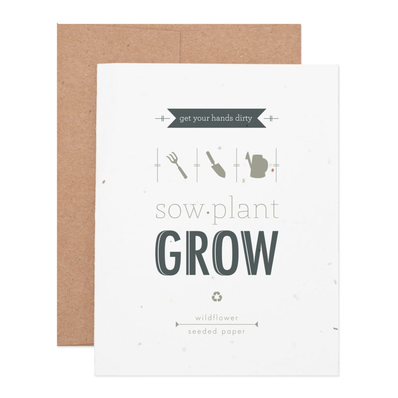 Sow plant grow wildflower seeded plantable letterpress greeting card