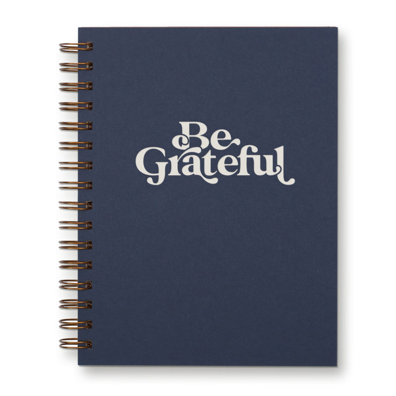 Be grateful lined spiral journal in deep blue