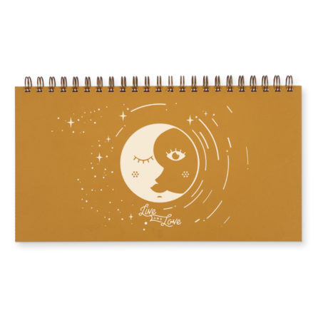 Live and love celestial undated weekly planner in saffron yellow
